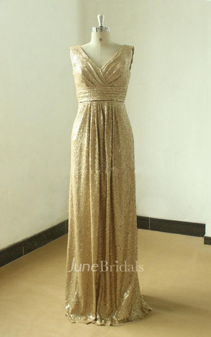 Floor-length Gold Sequined V-neck Gown With Low V Back
