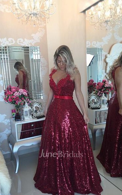 6f887e6a57e Glamorous Lace Appliques A-line Prom Dress 2018 Sequins Beadings - June  Bridals