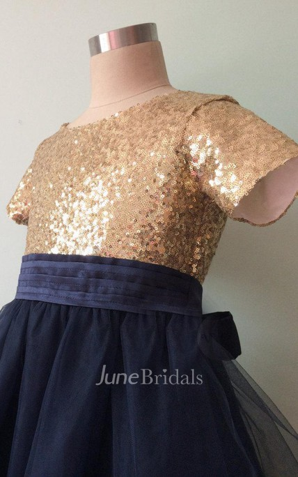 Short Sleeve Ruched Tulle Dress With Sequins&Flower