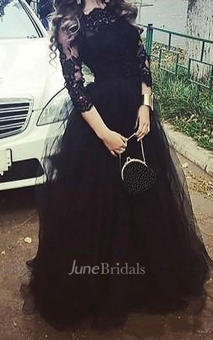 Ball Gown Long Sleeves Bateau Lace Floor Length Tulle Dress Online