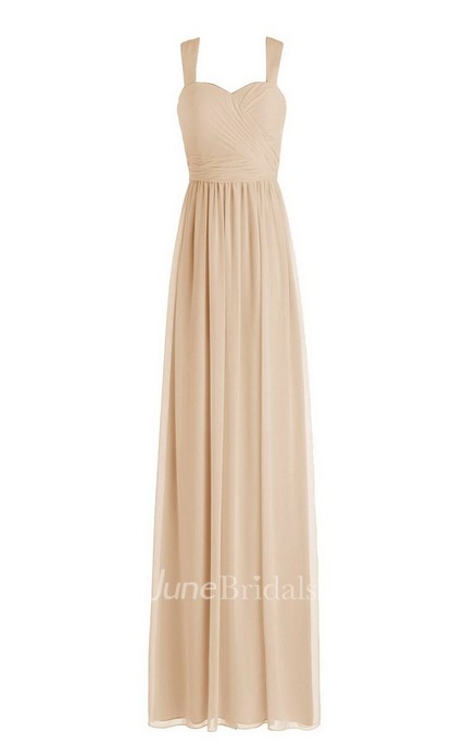 Sleeveless Long Chiffon Gown With Pleats