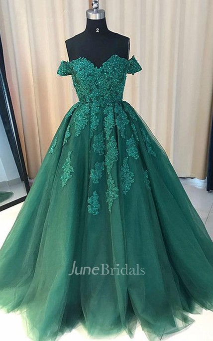 Off Shoulder Lace A line Long Custom Evening Prom Dress