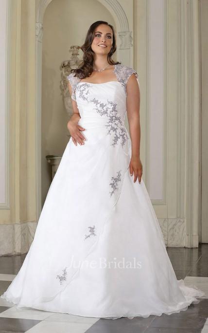 039dd9317dffe A-Line Long Queen Anne Satin Brush Train Appliques Dress - June Bridals