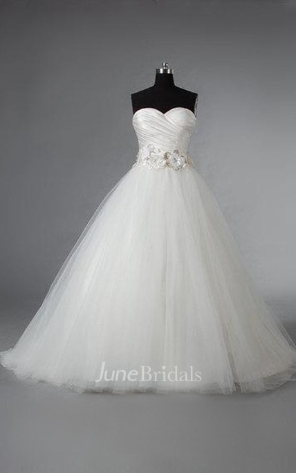 Satin and Tulle Ball Gown With Crisscross Ruching and Flowers