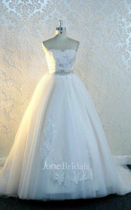 Sweetheart Backless Long Tulle Wedding Dress With Sash And Crystal Detailing