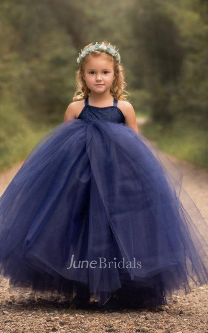 strapped Sleeveless Pleated Fully Lined Tulle Dress