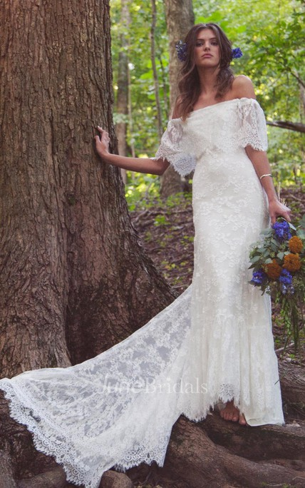 a9bf89e774 Boho Off-Shoulder Sheath Scalloped Lace Wedding Dress With Long Train -  June Bridals