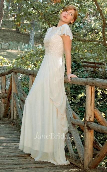Bateau Poet-Sleeve Chiffon Lace Wedding Dress With Deep-V Back And ...