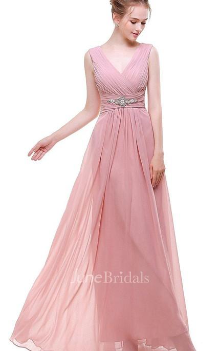 14b8e0ea501 Empire V Neck V Back Beaded A-line Chiffon Dress Pink - June Bridals