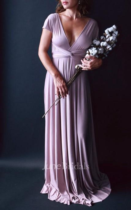5e20295b18756 Swan Lake Heather Satin Long Octopus Convertible Wrap Gown Wedding Maternity  Dress - June Bridals
