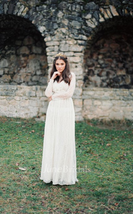 Boho Non-Corset Lace Wedding Dress With Long Sleeves - June Bridals