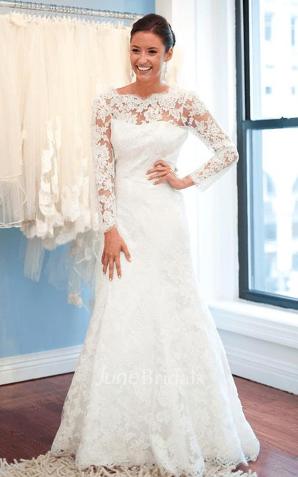 Elegant Lace Long Sleeve Wedding Dress 2018 White Sweep Train - June ...
