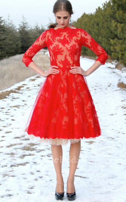 Red Lace With Tulle Underskirt Dress