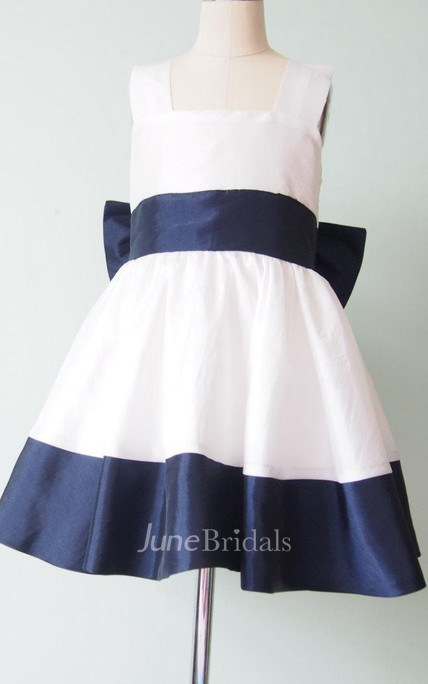 strapped Square Taffeta Dress With Bow&Flower