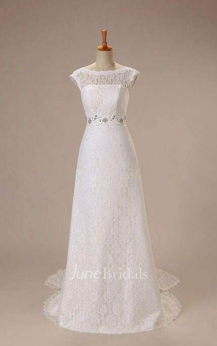 Elegant Long A-Line Lace Wedding Dress With Beaded Belt