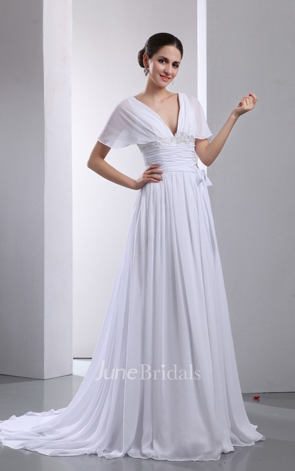 A-Line Fantastic V-Neck Soft Flowing Fabric Capped Pleated Gown