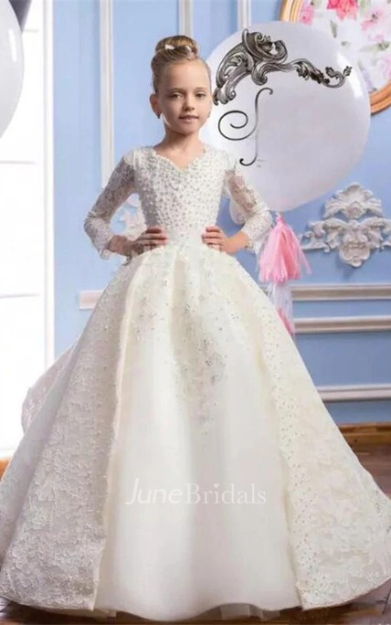 Ball Gown V-neck 3-4 Sleeves Beading Flower Girl Dress