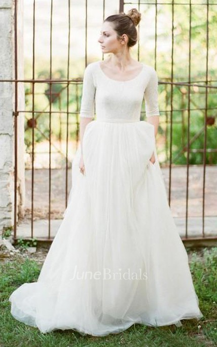 7d6a8945f2 Modest A Line Scoop Neck Half Sleeved Full Back Tulle Skirt Wedding Dress  with Sleeves