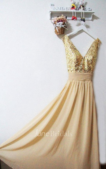 Gold Sequin V-neck A-line Chiffon Dress