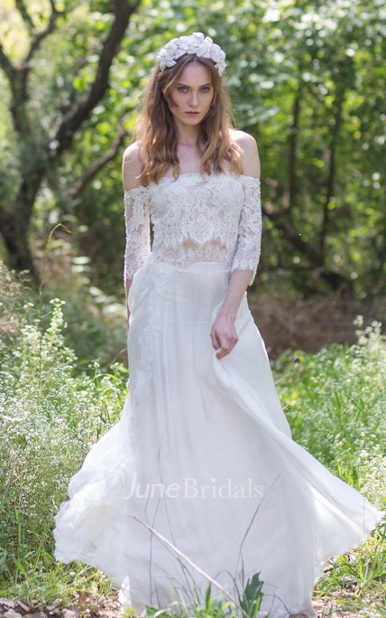 e538a4b090 Off-the-shoulder Lace Chiffon Boho Wedding Dress With Corset Back - June  Bridals
