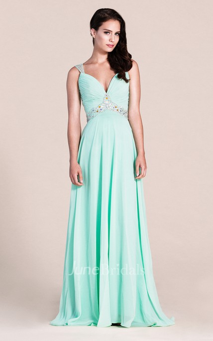 Plunging Neck Long Prom Dress with colorful Beading