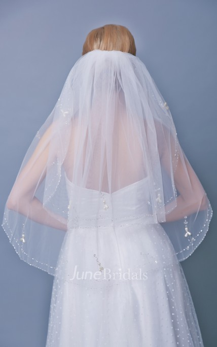 Beaded Two Tier Mid Length Veil