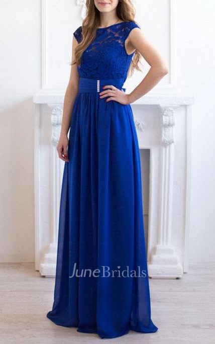 Cobalt Blue Maxi Chiffon Lace Bridesmaid Evening Wedding Party Dress