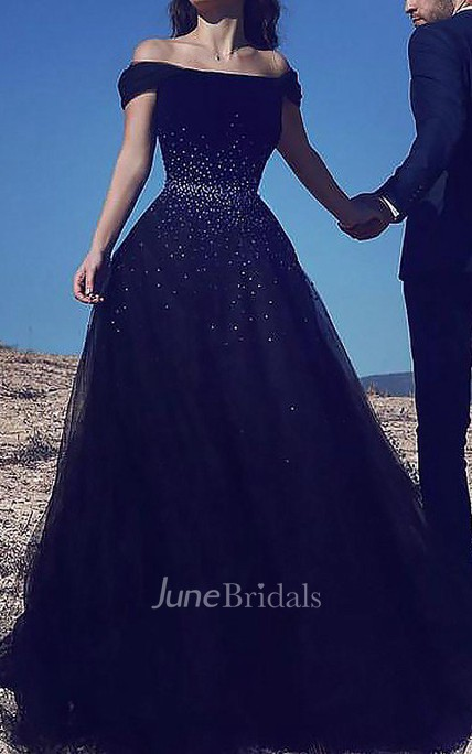 Ball Gown Sleeveless Off-the-shoulder Beading Floor Length Tulle Dress Online