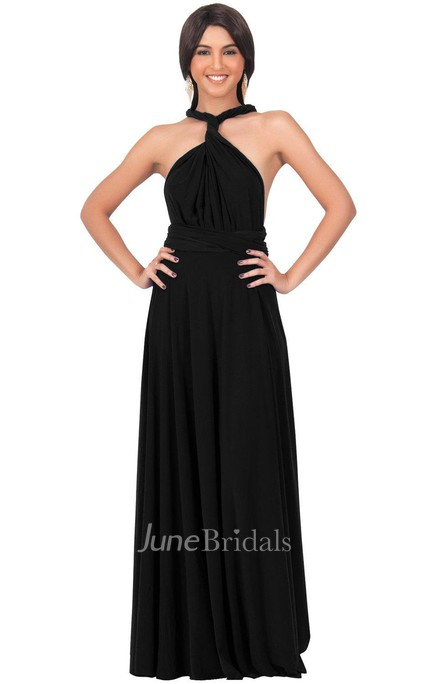 Convertible Jersey Long Dress With Sexy Back