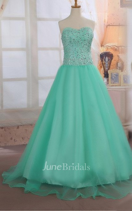 Floor-length Organza Beaded Ball Gown With Lace-up Back