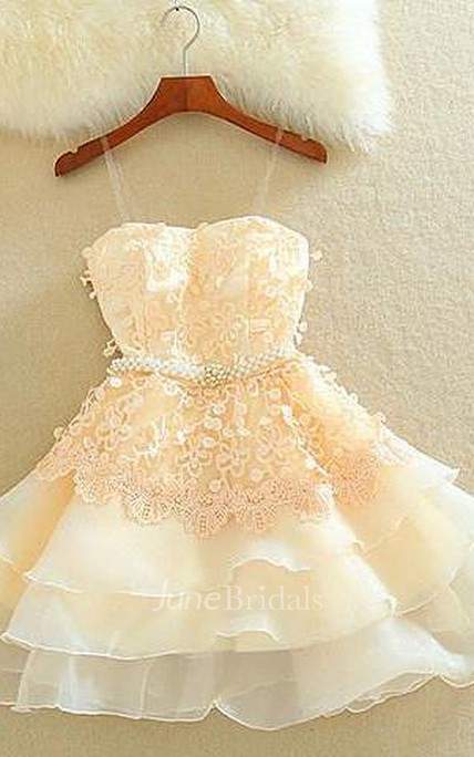 Lovely Sweetheart Mini Homecoming Dress Lace Appliques Layered