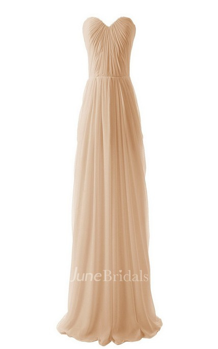 Sweetheart Long Chiffon Gown With Allover Pleats
