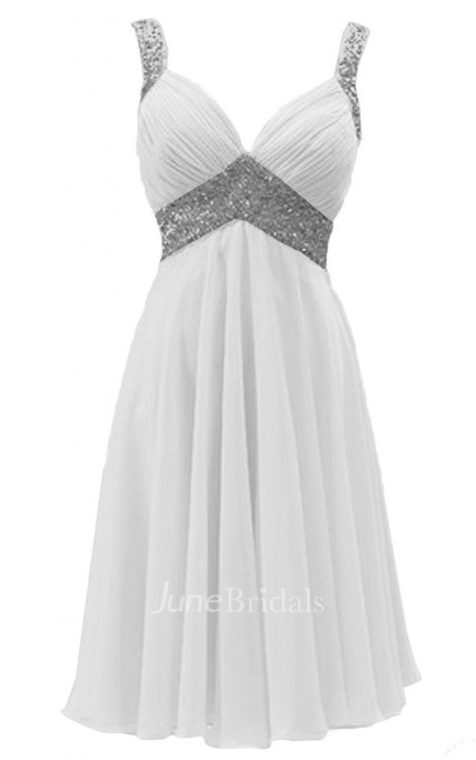 Sleeveless Sequined Ruched Bodice Knee-length Chiffon Dress