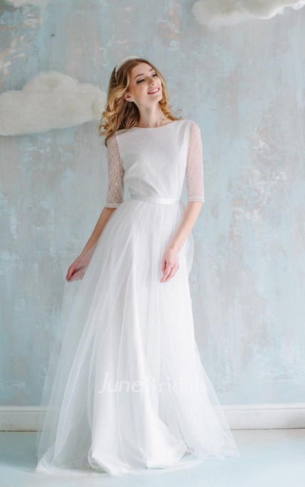 cbfe11534b319 A-Line Long Tulle Lace Satin Dress With Flower Button - June Bridals
