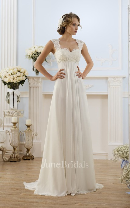 A-Line Long Cap-Sleeve Keyhole Chiffon Dress With Lace
