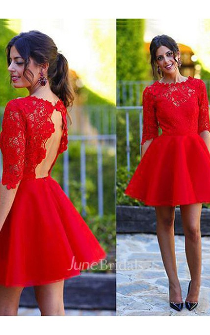 A-line Jewel Scalloped Half Sleeve Lace Ruching Short Mini Satin Lace Homecoming Dress