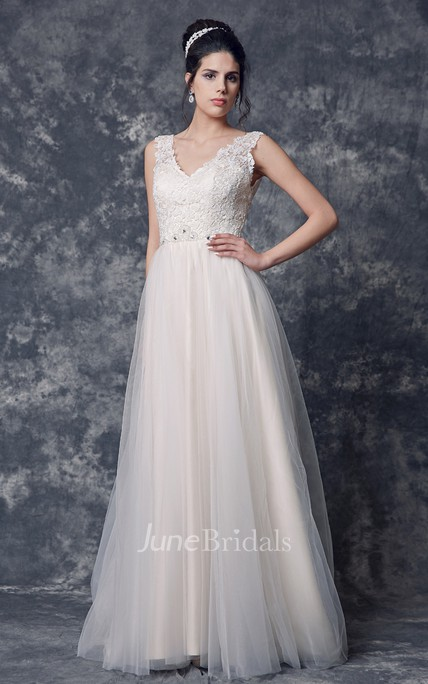 Sleeveless V Neck A-line Tulle Gown With Lace Bodice and Beaded Detailing