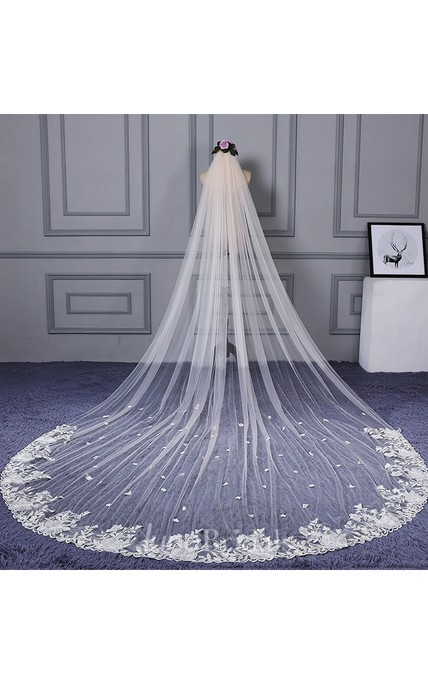 Ethereal Cathedral Tulle Wedding Veil with Lace Edge and Flower Appliques