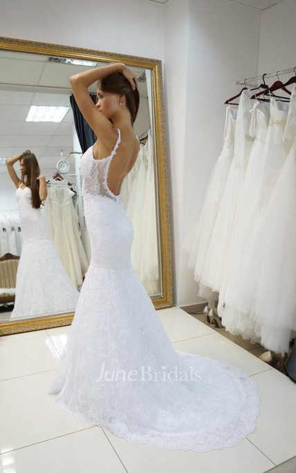 Spaghetti Strap Backless Lace Mermaid Wedding Dress With Court Train