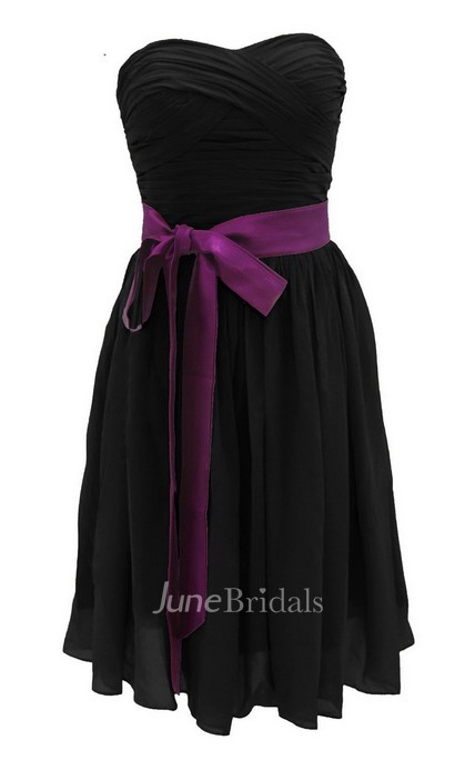 Strapless Ruched Dress With Satin Sash And Drapping June