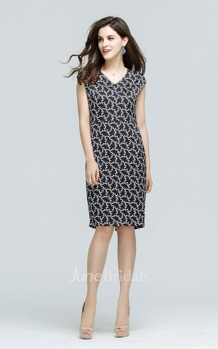 Printed Cap Sleeve V-Neck Sheath Midi Dress