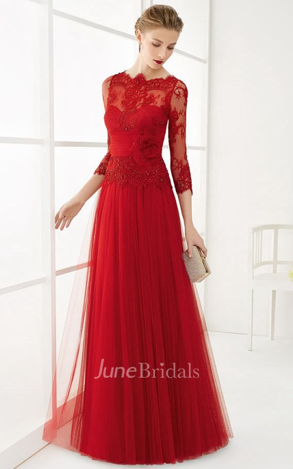 2b690e82974 A-Line Long Appliqued 3-4-Sleeve Jewel-Neck Tulle Prom Dress With Flower -  June Bridals