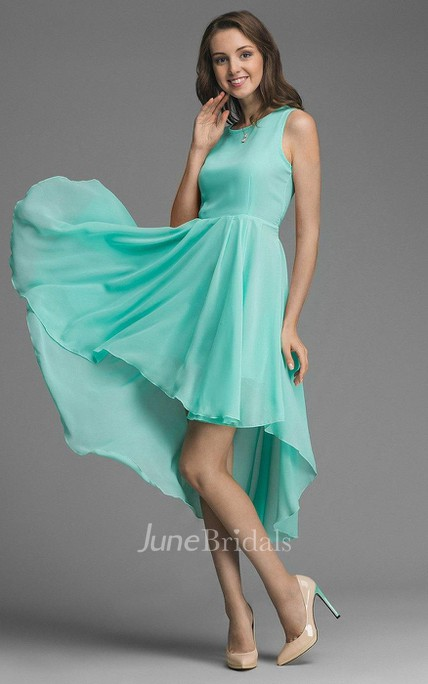 Asymmetrical Bow Belt Chiffon Bridesmaid Dress