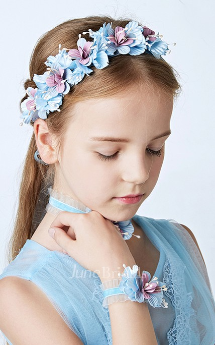 Girl Princess Style Light Blue Flowers Flower Girl Wreath