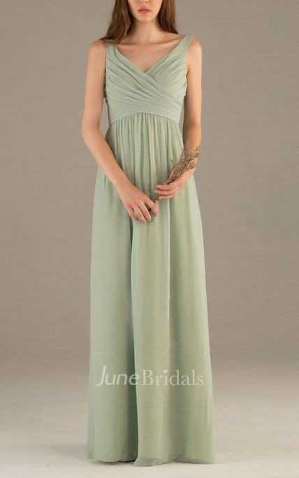 2018 Simple Dusty Green Bridesmaid Dress