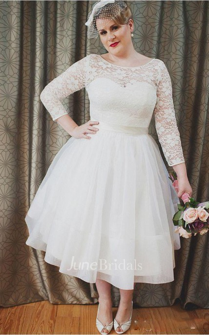 43c96993c557 Plus Size Vintage Style Scoop Neckline 3-4 Long Sleeve Lace Tea Length  Bridal Gown - June Bridals
