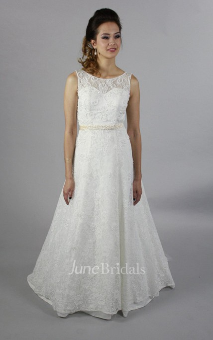 Full Lace Scoop Neck Sleeveless Long A-Line Wedding Dress With Crystal Beaded Waist