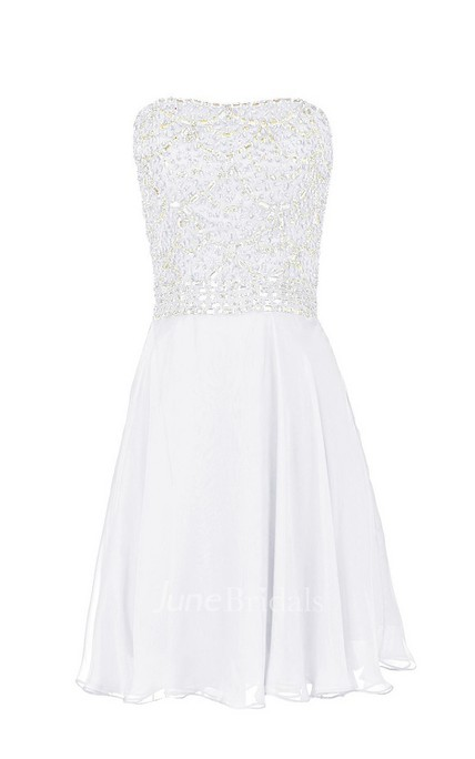 Strapless Sequined Bodice Short Layered Chiffon Dress