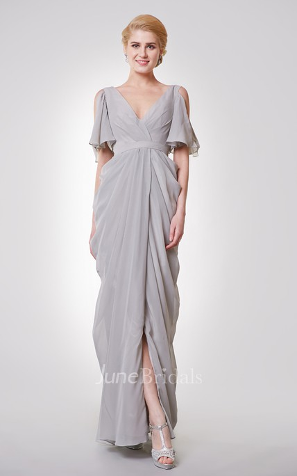 Deep-V Neck Long Formal Dress with Split Sleeves