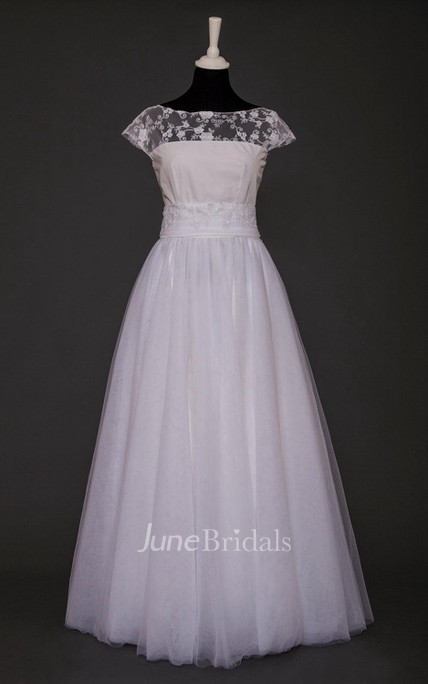 Bateau Cap Sleeve Long Tulle Wedding Dress With Sash And Sequins